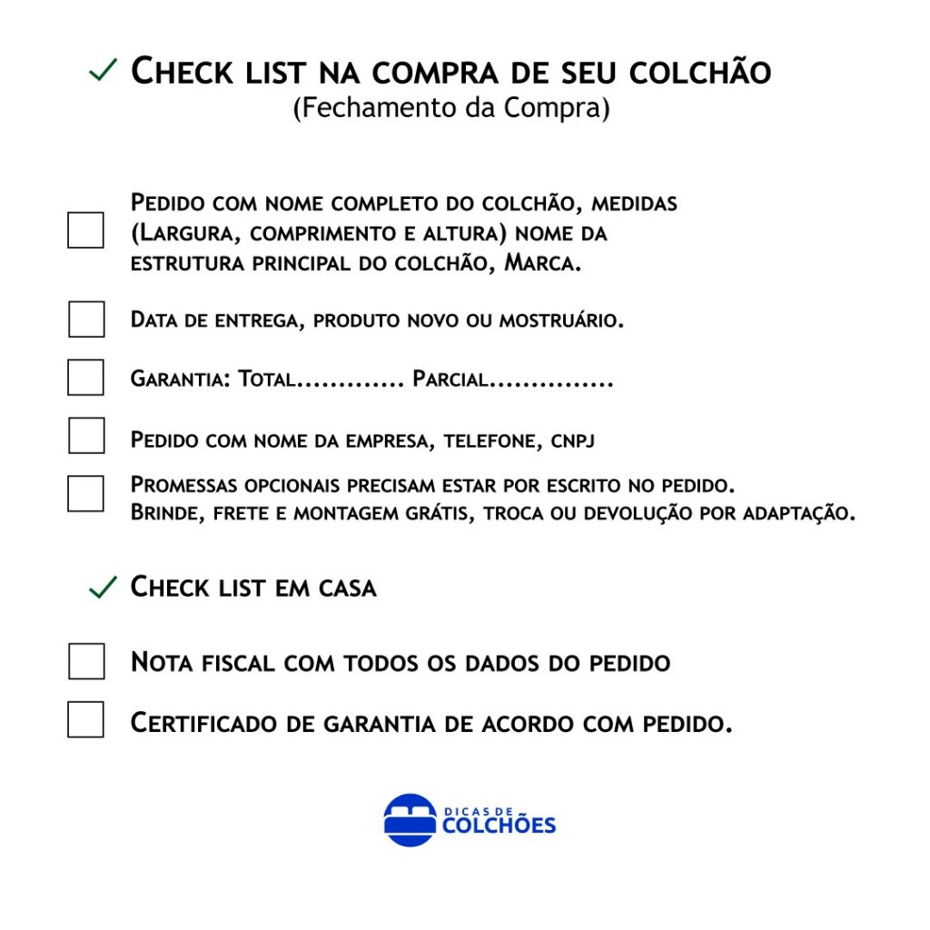 Checklist colchão